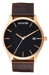 Mvmt Leather Strap Watch 40Mm Brown Rose Gold