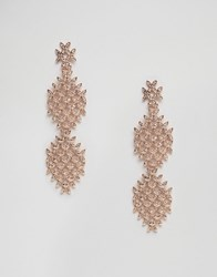 Asos Statement Rose Gold Crystal Strand Earrings Crystal Clear