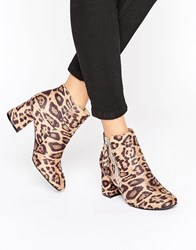 New Look Leopard Print Ankle Boots Stone