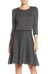Taylor Dresses Women's Pleat Fit And Flare Sweater Dress