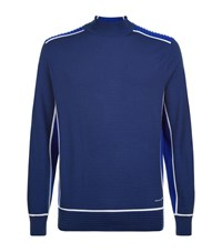 Stefano Ricci Ribbed Panel Knitted Sweater Male Blue
