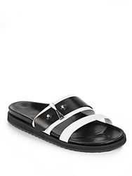 Alexander Mcqueen Two Tone Strappy Leather Sandals White Black