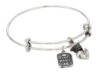 King Baby Studio Adjustable Bangle Bracelet With Crowned Heart Charm Silver Bracelet