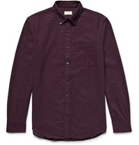 Club Monaco Slim Fit Button Down Collar Cotton Flannel Shirt Merlot