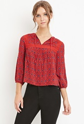 Forever 21 Ornate Print Peasant Top Red Blue