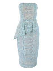 Jane Norman Bonded Lace Peplum Strapless Midi Dress Aqua