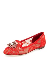 Dolce And Gabbana Crystal Embellished Lace Loafer Red Orange Red Orange