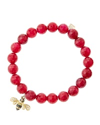 Sydney Evan 8Mm Faceted Red Agate Beaded Bracelet With 14K Gold Diamond Bee Charm Made To Order