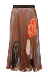Christopher Kane Translucent Silk Cut Out Skirt Brown