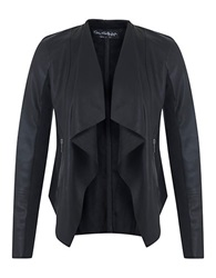 Miss Selfridge Faux Leather Waterfall Jacket Black