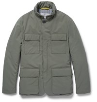 Canali Leather Trimmed Padded Shell Jacket Green