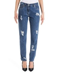 Moschino Distressed Five Pocket Jeans Medium Blue