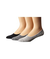 Sperry Canoe Liner Solid 3 Pack Grey Heather Men's No Show Socks Shoes Gray