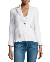 Smythe Long Sleeve Cutaway Hem Blazer White Women's