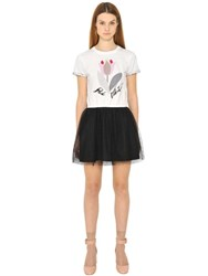 Red Valentino Printed Cotton Jersey And Tulle Dress
