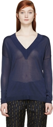 Rag And Bone Navy Sheer Yvette V Neck Sweater