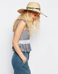 Asos Oversized Natural Floppy Straw Hat With Turq Stone Band Natural Brown