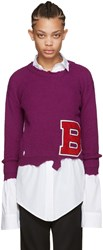 Raf Simons Purple Destroyed 'B' Sweater
