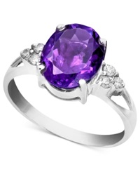 Macy's 14K White Gold Ring Amethyst 2 1 3 Ct. T.W. And Diamond Accent Oval