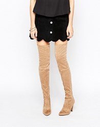 Carvela Wren Heeled Over The Knee Boots Taupe Beige