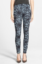 7 For All Mankind High Rise Skinny Jeans Denim Blue Floral