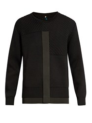 Oamc Panelled Wool Blend Sweater Black