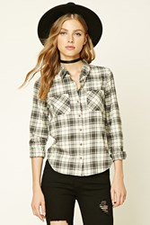 Forever 21 Buffalo Plaid Flannel Shirt Cream Grey
