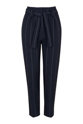 Topshop Pinstripe Paperbag Trousers Navy Blue