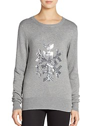 French Connection Graphic Sequined Snowflake Sweater Mid Grey