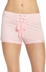 Betsey Johnson Women's French Terry Lounge Shorts Party Girl Pink Heather