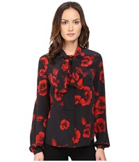 Mcq By Alexander Mcqueen Knotted Neck Blouse Black Red Women's Blouse
