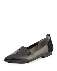 Cnc Costume National Pointed Toe Patent Leather Flat Black