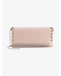 Valentino Grained Leather Rockstud Wallet Pink