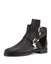 Double Buckle Open Leather Boot Black Pierre Hardy