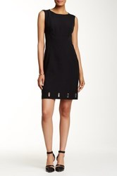 Anne Klein Mystery Crepe Eyelet Shift Dress Black