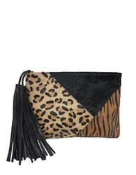 Sondra Roberts Patchwork Calf Hair And Leather Clutch Brown