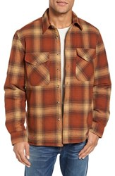 Schott Nyc Men's Plaid Shirt Jacket Rust
