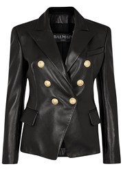 Balmain Black Double Breasted Leather Jacket