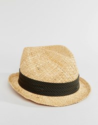 Catarzi Straw Trilby With Grey Polka Dot Band Beige