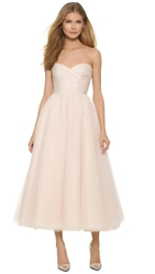 Monique Lhuillier Sloane Strapless Tea Length Dress Cameo