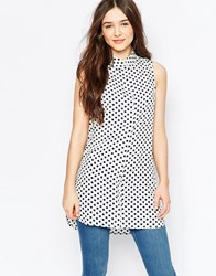 Vila Polka Dot Sleeveless Shirt White Dot Print