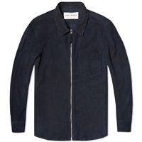 Suede Zip Shirt Navy