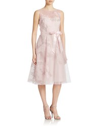 Teri Jon Sleeveless Floral Lace Dress Blush