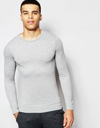 Farah Crew Neck Long Sleeve Top In Muscle Fit Grey