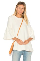 Edit Long Sleeve Flute Sleeve Top White