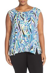 Plus Size Women's Sejour Crepe Georgette Shell Black Wave Print