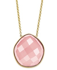 Macy's 14K Gold Necklace Faceted Pink Agate Pentagon Necklace 28 Ct. T.W.
