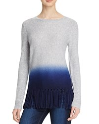 Aqua Cashmere Dip Dye Fringe Trim Sweater Light Grey Peacoat