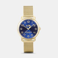 Coach Delancey Gold Tone Sunray Dial Mesh Bracelet Watch Gold Plated