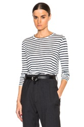 Etoile Isabel Marant Isabel Marant Etoile Karon Striped Long Sleeve Tee In White Blue Stripes